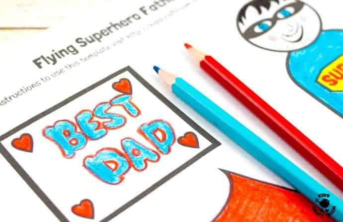 "Step 4 -FLYING SUPERHERO FATHER'S DAY CRAFT. Kids and Dads will love this printable superhero craft that really flies! Turn Daddy into ""Super Dad"" with this fun and interactive Father's Day gift idea."