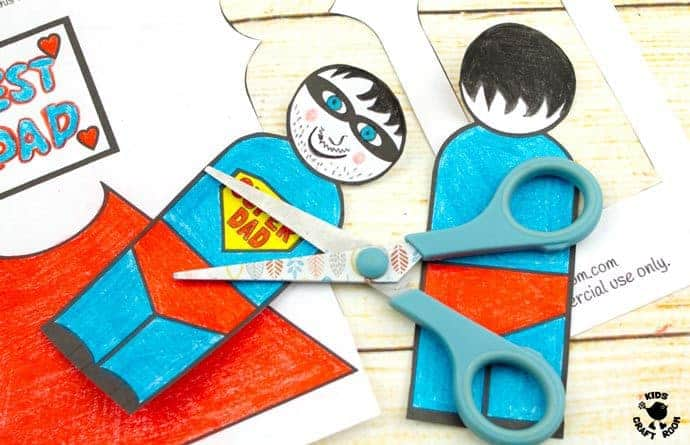 "Step 5 -FLYING SUPERHERO FATHER'S DAY CRAFT. Kids and Dads will love this printable superhero craft that really flies! Turn Daddy into ""Super Dad"" with this fun and interactive Father's Day gift idea."