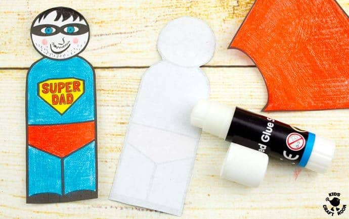 "Step 6 -FLYING SUPERHERO FATHER'S DAY CRAFT. Kids and Dads will love this printable superhero craft that really flies! Turn Daddy into ""Super Dad"" with this fun and interactive Father's Day gift idea."
