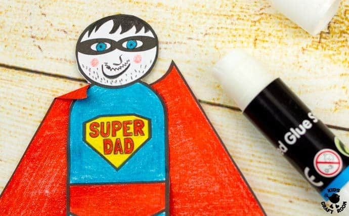 "Step 7 -FLYING SUPERHERO FATHER'S DAY CRAFT. Kids and Dads will love this printable superhero craft that really flies! Turn Daddy into ""Super Dad"" with this fun and interactive Father's Day gift idea."