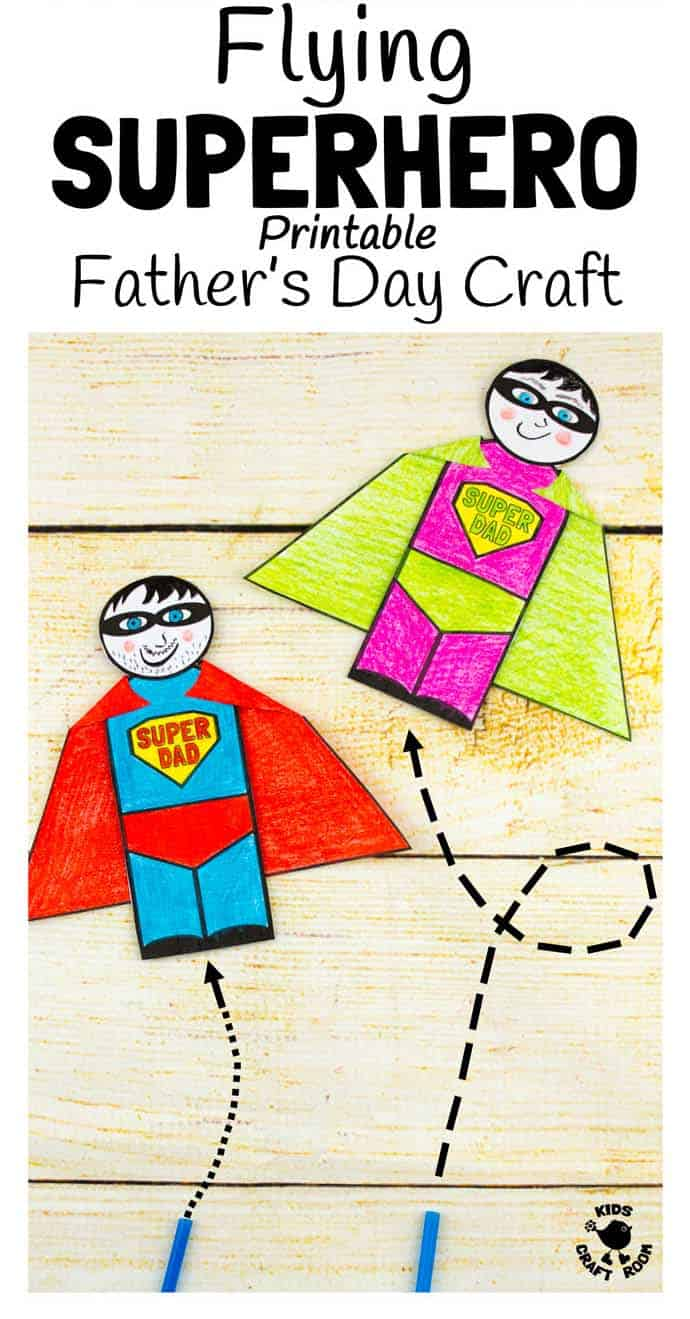 Flying Superhero - Father's Day Craft - pin image 3