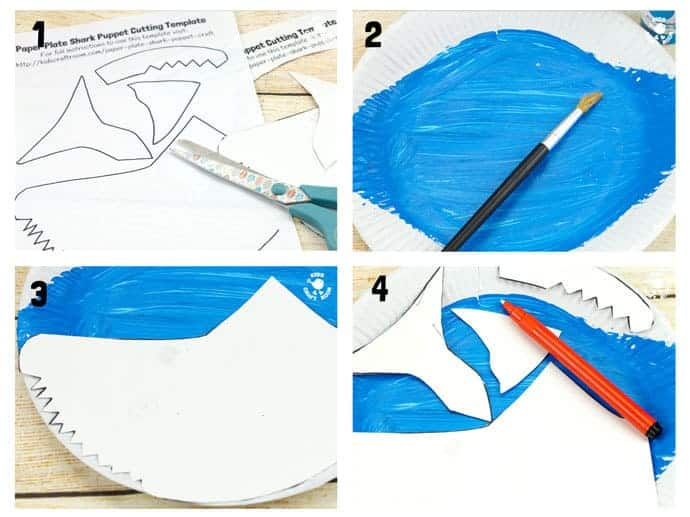 PAPER PLATE SHARK PUPPETS steps 1-4. This interactive shark craft is easy to make using the free printable template. This paper plate craft will inspire hours of dramatic play and storytelling.