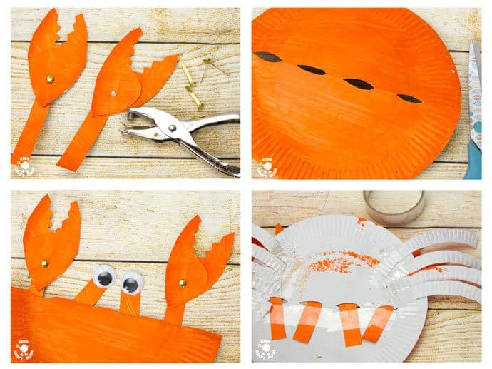 PAPER PLATE CRAB CRAFT STEPS 9 - 12 - This interactive Rocking Paper Plate Crab Craft is a fun kids Summer craft. Children will love rocking and nipping with these adorable homemade crabs and their cheeky moveable pincers.