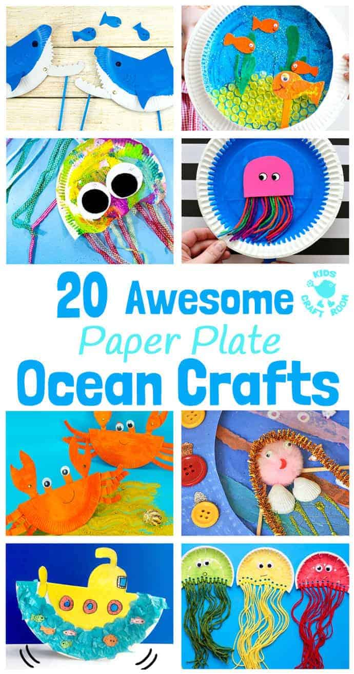 PAPER PLATE OCEAN CRAFTS - 20 awesome sea themed Summer crafts for kids. From swimming jellyfish to chomping sharks and nipping crabs you'll have lots of fun with these beach crafts. #beachcrafts #paperplatecrafts #oceancrafts #summercrafts #seacrafts #kidscrafts #craftsforkids #kidscraftroom