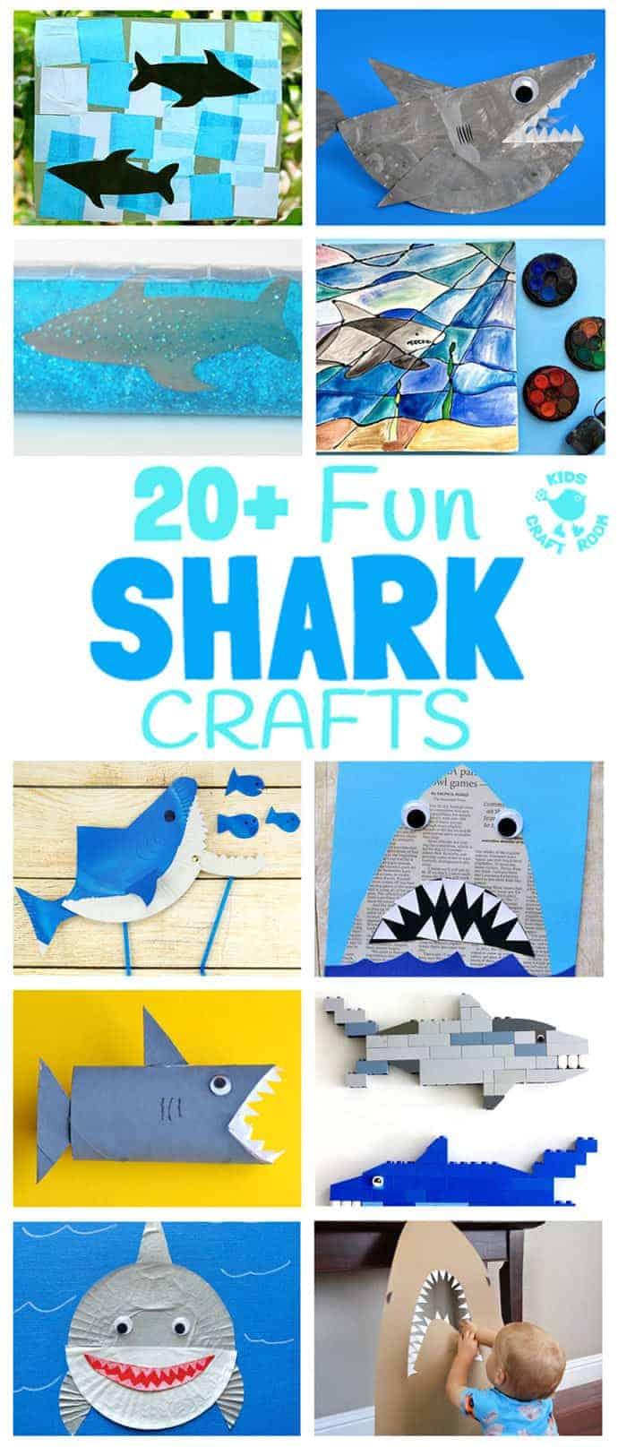 SHARK CRAFTS 20+ Fun Shark Crafts, shark art and shark activity ideas to keep kids creating all Summer. Fantastic shark week crafts for shark fans.