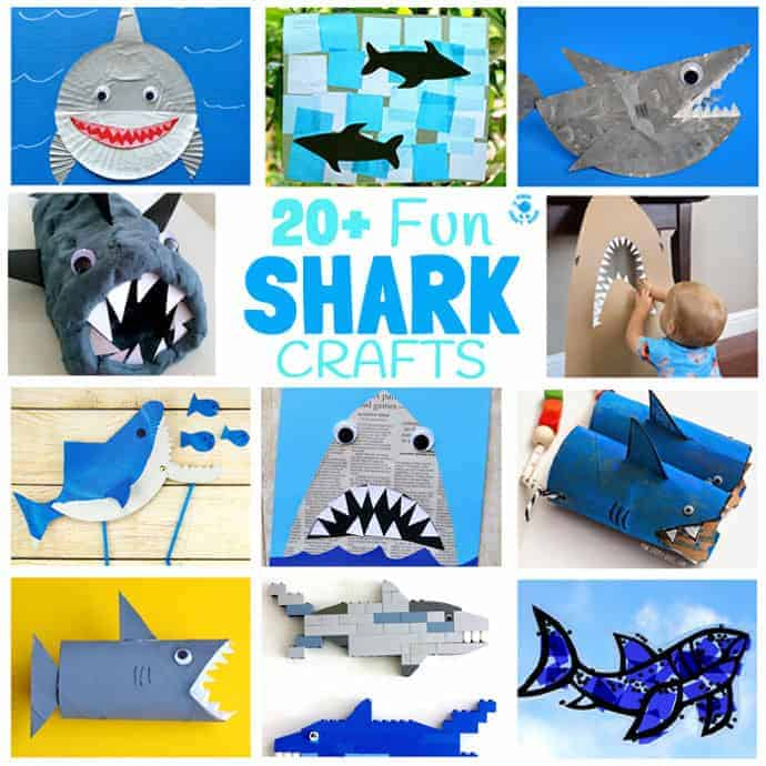 SHARK CRAFTS 20+ Fun Shark Crafts, shark art and shark activity ideas to keep kids creating all Summer. Fantastic shark week crafts for shark fans.