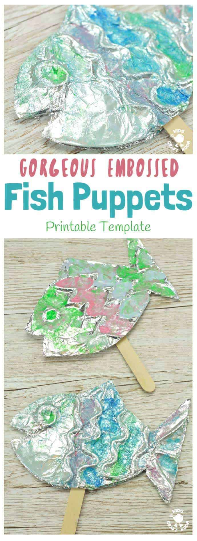EMBOSSED FOIL FISH PUPPETS - A stunning fish craft with a difference! This embossed foil fish craft appeals to kids of all ages. Enjoy making fish puppets or fish pictures, the results are gorgeous! #fish #fishcrafts #ocean #oceancrafts #puppets #puppetcrafts #homemadepuppets #kidscrafts #craftsforkids #kidscraftroom #summercrafts #beachcrafts #kidsactivities