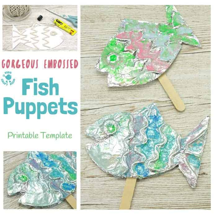 EMBOSSED FOIL FISH PUPPETS - A stunning fish craft with a difference! This embossed foil fish craft appeals to kids of all ages. Enjoy making fish puppets or fish pictures, the results are gorgeous!