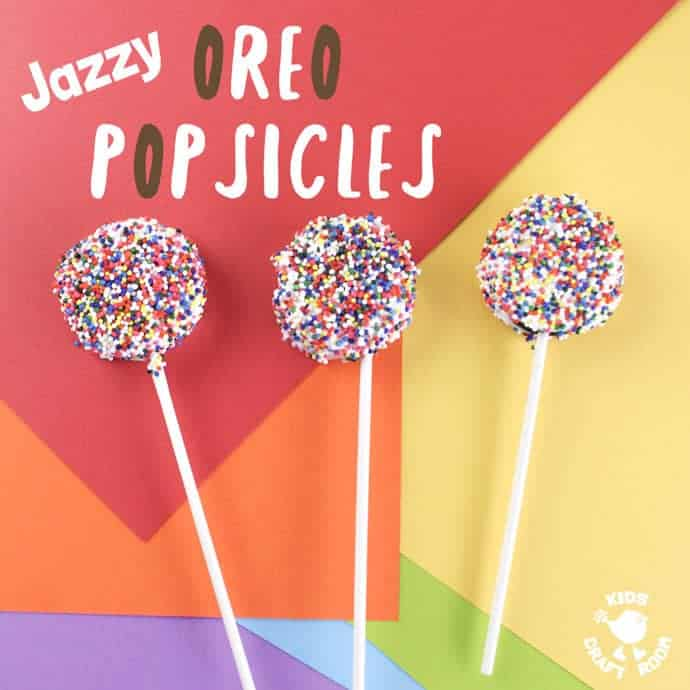 JAZZY OREO POPSICLES are FUN! A perfect recipe for cooking with kids. Sweet, decadent, easy to make and great for sharing with friends, JAZZY OREO POPS are delicious for play dates, parties and picnics.