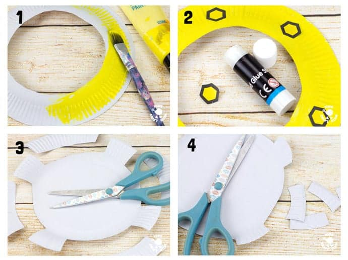 Steps 1-4 PAPER PLATE PORTHOLE CRAFT - a fantastic ocean craft for kids that love pirates and mermaids. This interactive moving paper plate craft is so fun! Wiggle the handle to make the ocean scene bob up and down like real waves! An exciting Summer craft for kids. (Free black & white and full colour printables available.)