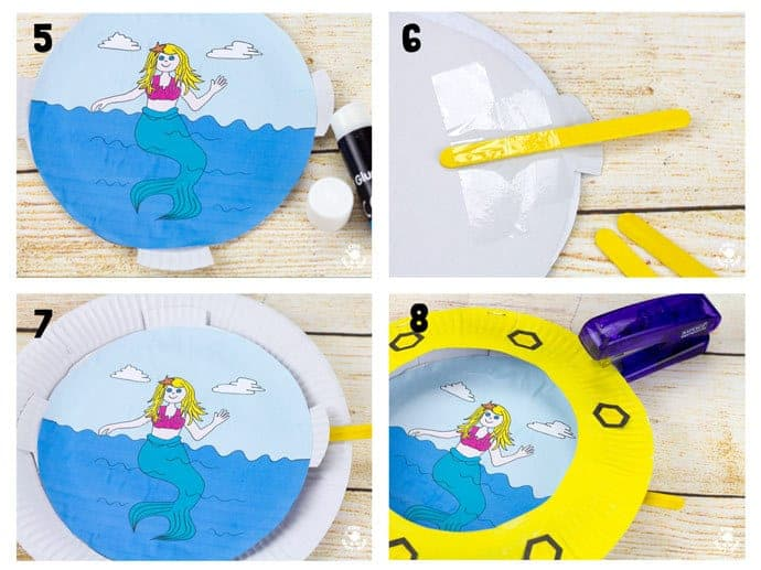 Steps 5-8 PAPER PLATE PORTHOLE CRAFT - a fantastic ocean craft for kids that love pirates and mermaids. This interactive moving paper plate craft is so fun! Wiggle the handle to make the ocean scene bob up and down like real waves! An exciting Summer craft for kids. (Free black & white and full colour printables available.)