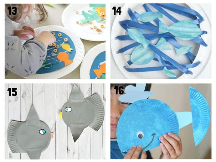 PAPER PLATE OCEAN CRAFTS 13-16. Here are 20 awesome sea themed Summer crafts for kids. From swimming jellyfish to chomping sharks and nipping crabs you'll have lots of fun with these beach crafts.