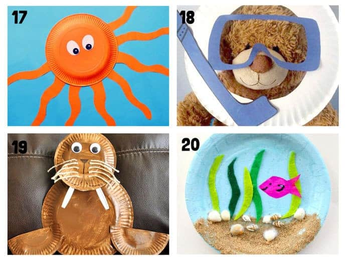PAPER PLATE OCEAN CRAFTS 17-20. Here are 20 awesome sea themed Summer crafts for kids. From swimming jellyfish to chomping sharks and nipping crabs you'll have lots of fun with these beach crafts.
