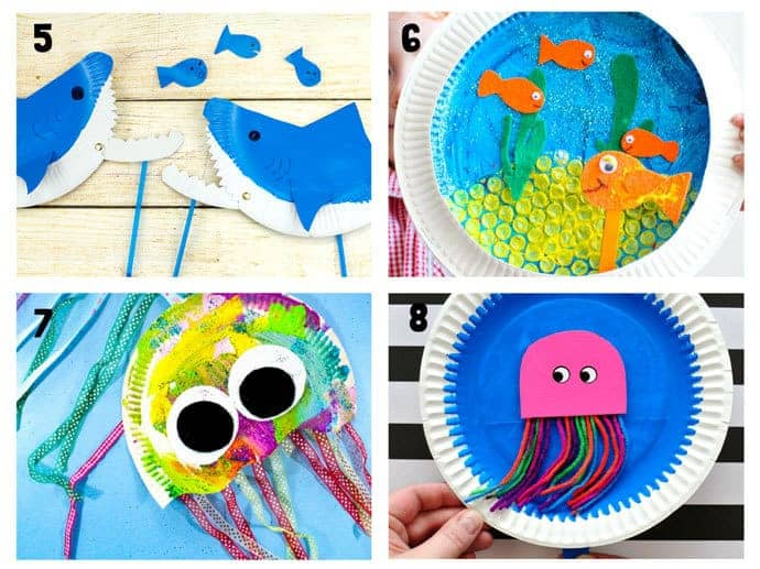 PAPER PLATE OCEAN CRAFTS 5-8. Here are 20 awesome sea themed Summer crafts for kids. From swimming jellyfish to chomping sharks and nipping crabs you'll have lots of fun with these beach crafts.