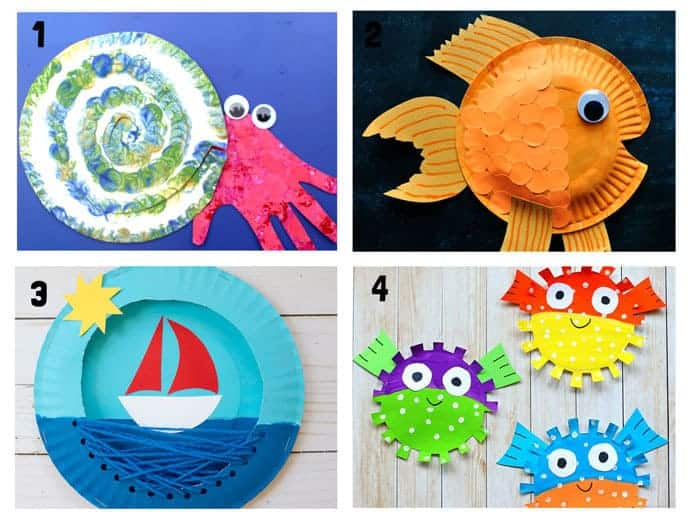 PAPER PLATE OCEAN CRAFTS 1-4. Here are 20 awesome sea themed Summer crafts for kids. From swimming jellyfish to chomping sharks and nipping crabs you'll have lots of fun with these beach crafts.