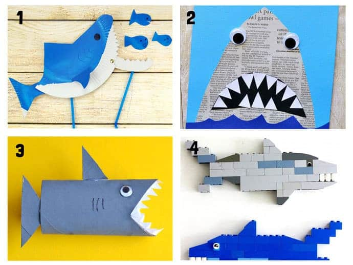 SHARK CRAFTS 1-4 from 20+ Fun Shark Crafts, shark art and shark activity ideas to keep kids creating all Summer. Fantastic shark week crafts for shark fans.