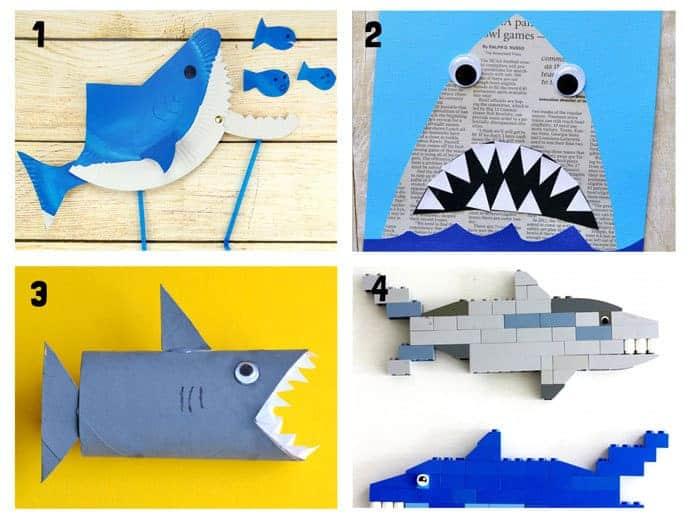SHARK CRAFTS 1-4 from 20+ Fun Shark Crafts, shark art and shark activity ideas to keep kids creating all Summer. Fantastic shark week crafts for shark fans.