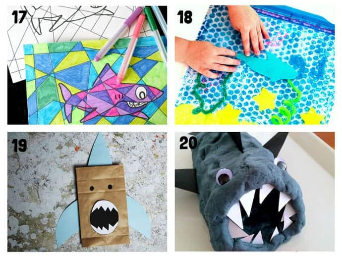 SHARK CRAFTS 17-20 from 20+ Fun Shark Crafts, shark art and shark activity ideas to keep kids creating all Summer. Fantastic shark week crafts for shark fans.
