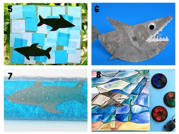 SHARK CRAFTS 5-8 from 20+ Fun Shark Crafts, shark art and shark activity ideas to keep kids creating all Summer. Fantastic shark week crafts for shark fans.