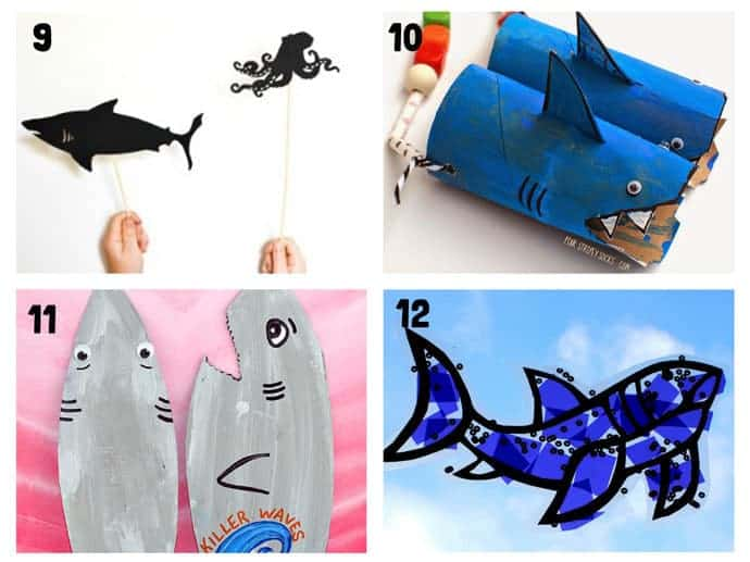 SHARK CRAFTS 9-12 from 20+ Fun Shark Crafts, shark art and shark activity ideas to keep kids creating all Summer. Fantastic shark week crafts for shark fans.