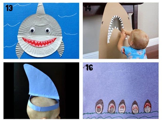 SHARK CRAFTS 13-16 from 20+ Fun Shark Crafts, shark art and shark activity ideas to keep kids creating all Summer. Fantastic shark week crafts for shark fans.