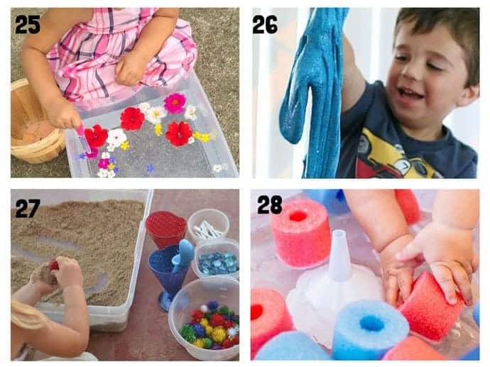THE BEST SUMMER SENSORY PLAY IDEAS 25-28 - Want Summer sensory activities to keep the kids engaged, playing and learning? These 25+ Fun Summer Sensory Play Activities will be a hit with kids big and small.