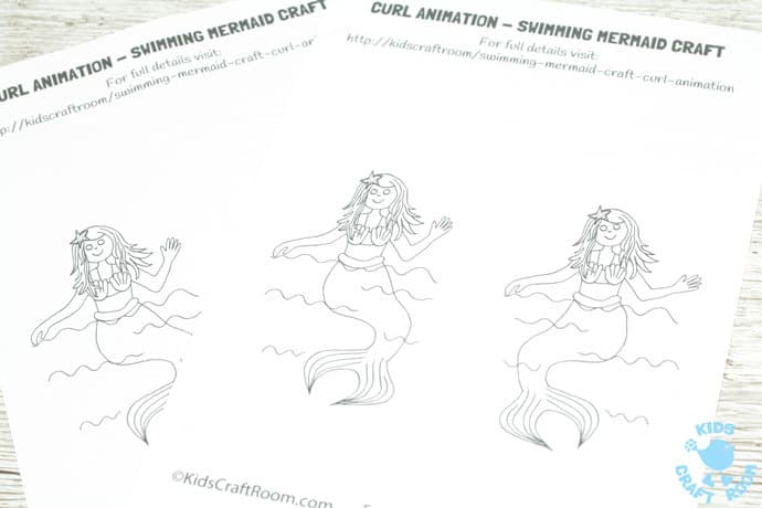 SWIMMING MERMAID CRAFT -PRINTABLE CURL ANIMATION step 1. Easier than flip books kids can colour the mermaid and make her wave her hand and swish her tail in minutes! This interactive Swimming Mermaid activity is lots of fun and introduces kids to the simple curl animation technique which tricks the eye into seeing 2 similar images as moving. Once kids see how the mermaid is made to swim they'll be set to have a go at drawing their own too. The sky's the limit!