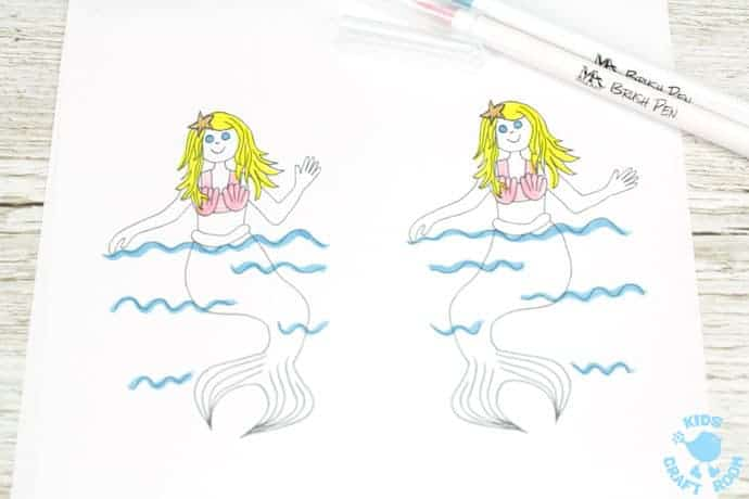 SWIMMING MERMAID CRAFT -PRINTABLE CURL ANIMATION step 2. Easier than flip books kids can colour the mermaid and make her wave her hand and swish her tail in minutes! This interactive Swimming Mermaid activity is lots of fun and introduces kids to the simple curl animation technique which tricks the eye into seeing 2 similar images as moving. Once kids see how the mermaid is made to swim they'll be set to have a go at drawing their own too. The sky's the limit!