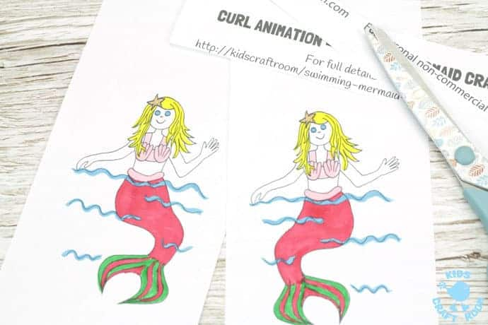 SWIMMING MERMAID CRAFT -PRINTABLE CURL ANIMATION step 3. Easier than flip books kids can colour the mermaid and make her wave her hand and swish her tail in minutes! This interactive Swimming Mermaid activity is lots of fun and introduces kids to the simple curl animation technique which tricks the eye into seeing 2 similar images as moving. Once kids see how the mermaid is made to swim they'll be set to have a go at drawing their own too. The sky's the limit!