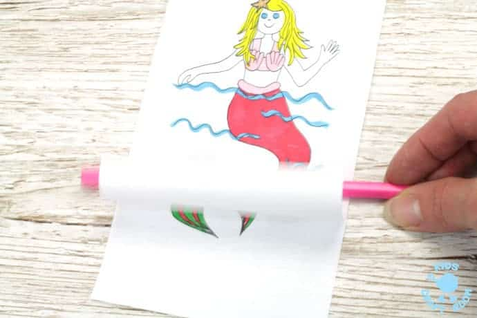 SWIMMING MERMAID CRAFT -PRINTABLE CURL ANIMATION. Easier than flip books kids can colour the mermaid and make her wave her hand and swish her tail in minutes! This interactive Swimming Mermaid activity is lots of fun and introduces kids to the simple curl animation technique which tricks the eye into seeing 2 similar images as moving. Once kids see how the mermaid is made to swim they'll be set to have a go at drawing their own too. The sky's the limit!