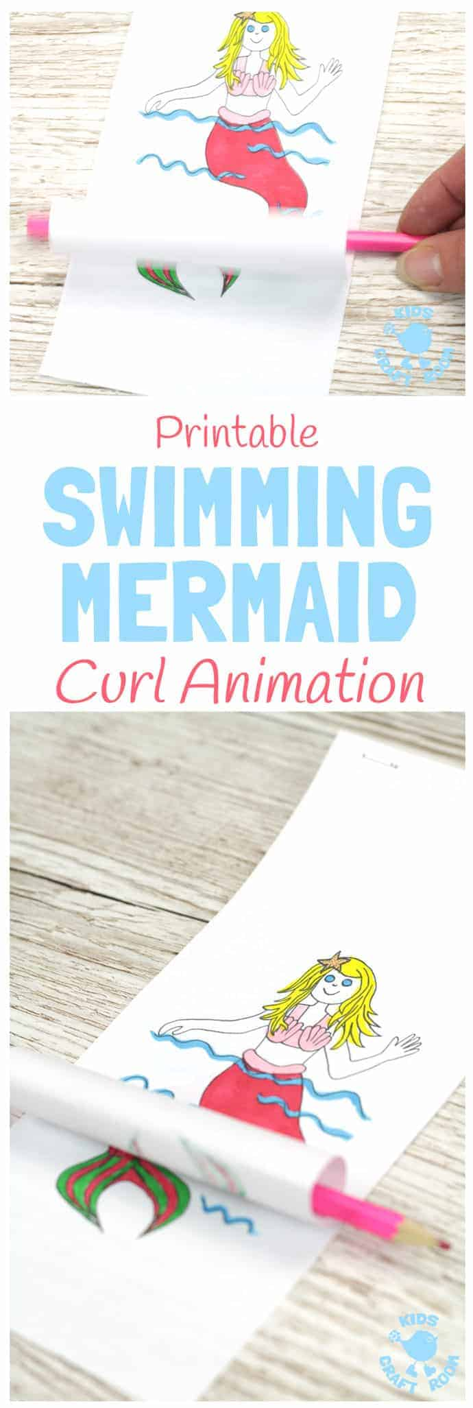 SWIMMING MERMAID CRAFT -PRINTABLE CURL ANIMATION. Print and colour the mermaid to make her wave and swish her tail! A fun interactive activity that introduces kids to the simple curl animation technique. #summercrafts #springcrafts #beachcrafts #mermaids #mermaidcrafts #animation #papercrafts #kidscrafts #craftsforkids #kidsactivities #kidscraftroom #printable #freeprintable #printables