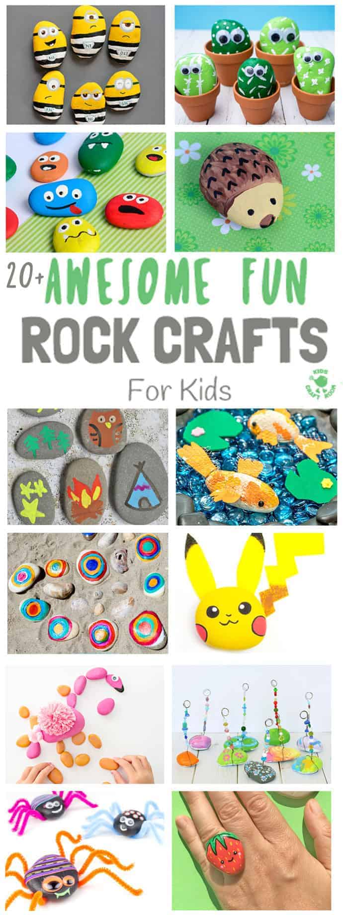 COOL KIDS ROCK CRAFTS - Do your kids love collecting pebbles? If you've got a little Nature collector then you'll love 20+ Awesome Fun Rock Crafts For Kids. These rock painting ideas make fantastic rock activities for fun all year round! #naturecrafts #rockcrafts #paintedrocks #pebblecrafts #rocks #pebbles #stones #kidscrafts #craftsforkids #summercrafts #kidsactivities #summeractivities #beachcrafts #kidscraftroom