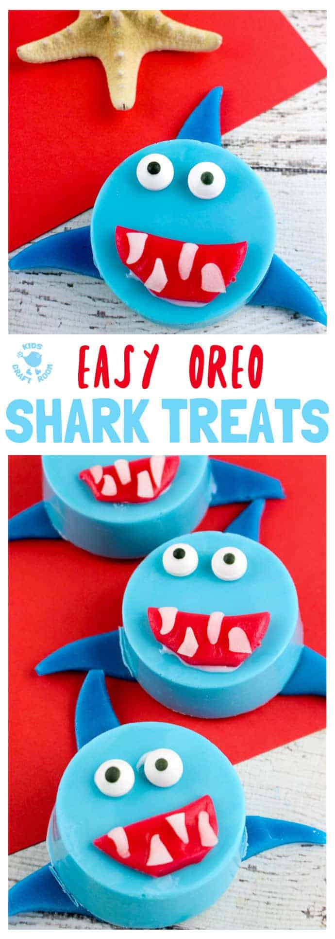 OREO SHARK TREATS are great for cooking with kids. A fin-tastic Summer activity perfect for shark week and ocean themes. Shark Cookies taste delicious and look adorable! #cookingwithkids #kidsrecipes #kidsinthekitchen  #desserts #oreos #cookies #biscuits #sharks #kidscraftroom #sharkweek #sharkactivities