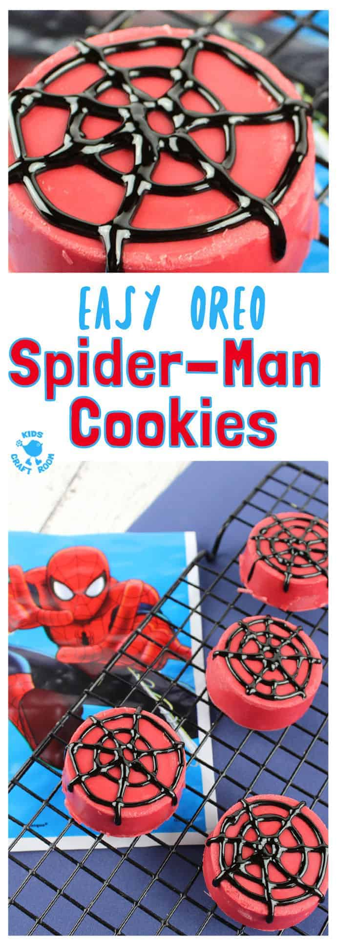 OREO SPIDER-MAN COOKIES - Great for cooking with kids. They look awesome, taste delicious and are super easy to make. A Spider-Man recipe great for Spider-Man parties and movie nights. A fun spider activity for Spider-Man fans big and small.#cookingwithkids #kidsrecipes #kidsinthekitchen  #desserts #oreos #cookies #biscuits #spiderman #kidscraftroom
