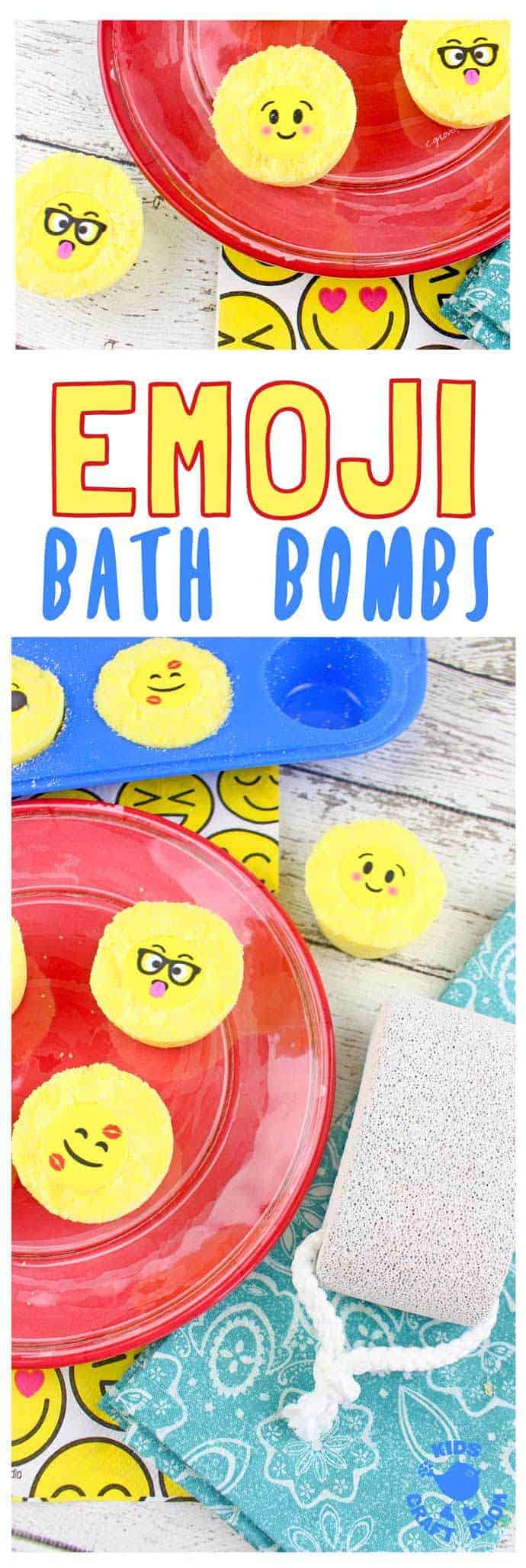 Emoji Bath Bombs make bath time fun! Homemade bath bombs are easy to make and bring a smile and a giggle to bath time. They're great as homemade gifts for kids to make too! #emoji #bathbombs #kidscrafts #homemadegifts #bathtime #kidsactivities #soap #homemadesoap #craftsforkids #kidscraftroom #diybathbombs
