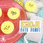Emoji Bath Bombs make bath time fun! Homemade bath bombs are easy to make and bring a smile and a giggle to bath time. They're great as homemade gifts for kids to make too!