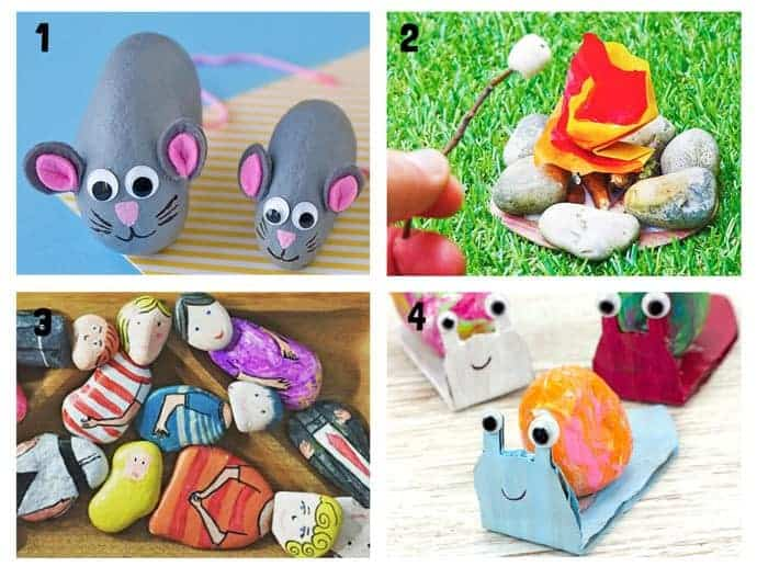 COOL KIDS ROCK CRAFTS 1-4  Do your kids love collecting pebbles? If you've got a little Nature collector then you'll love 20+ Awesome Fun Rock Crafts For Kids. These rock painting ideas make fantastic rock activities for fun all year round!
