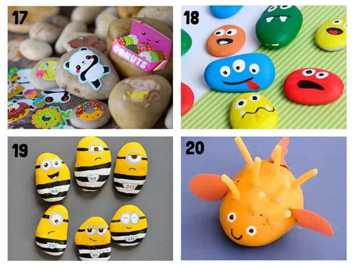 COOL KIDS ROCK CRAFTS 17-20 Do your kids love collecting pebbles? If you've got a little Nature collector then you'll love 20+ Awesome Fun Rock Crafts For Kids. These rock painting ideas make fantastic rock activities for fun all year round!