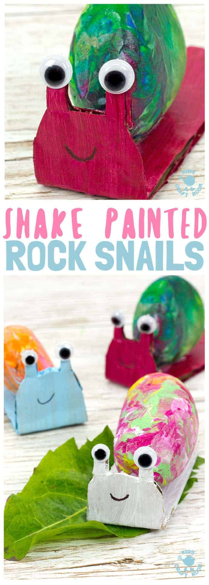 SHAKE PAINTING - CUTE SNAIL ROCK CRAFT- This rock painting idea gets kids active and is virtually mess free! This Snail Craft gets kids shaking out their wiggles and fidgets to make beautifully painted rock snail shells! Grab your rocks, your kids and your wiggles and let's make cute snails. It is so fun and each is unique! #rockcrafts #paintedrocks #rockpainting #naturecrafts #kidscrafts #craftsforkids #kidscraftroom #snails #snailcrafts #summercrafts #springcrafts #shakepainting #painting
