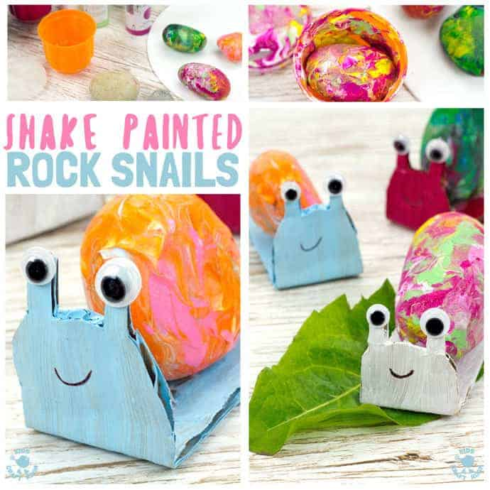 SHAKE PAINTING - CUTE SNAIL ROCK CRAFT- This rock painting idea gets kids active and is virtually mess free! With this cute Snail Craftkids shake out their wiggles and fidgets and create beautifully painted rocks that make perfect snail shells! Grab your rocks, your kids and your wiggles and let's get making cute snails. It is so much fun and each one is unique!