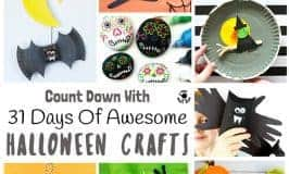 31 DAYS OF AWESOME HALLOWEEN CRAFTS FOR KIDS - Want to make the most of Halloween? Enjoy 31 Days Of Awesome Halloween Crafts for kids and get creative right through October. Witches, spiders, ghosts and ghouls we've got it all. A Halloween crafting feast!