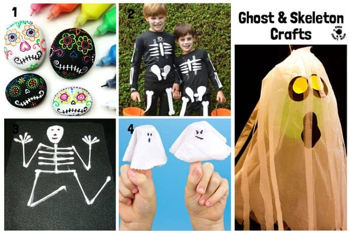 Ghost and Skeleton Halloween Crafts For Kids