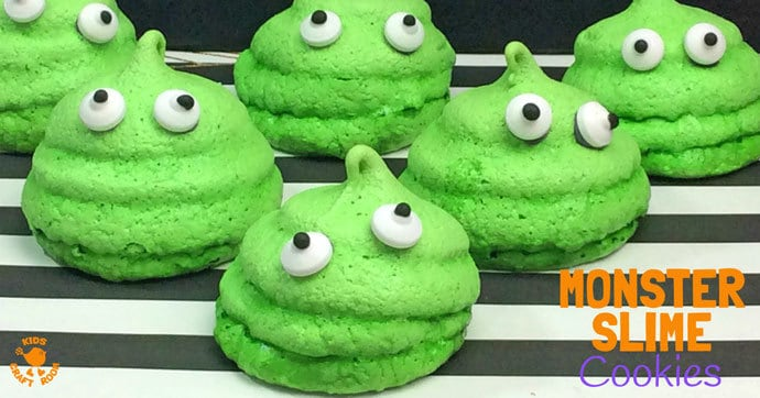 HALLOWEEN MONSTER SLIME COOKIES - A quick and easy Halloween recipe for cooking with kids. Your little monsters will love making and eating these Halloween treats. Monster Slime Cookies are so fun and tasty and look brilliant as part of your Halloween food table display.
