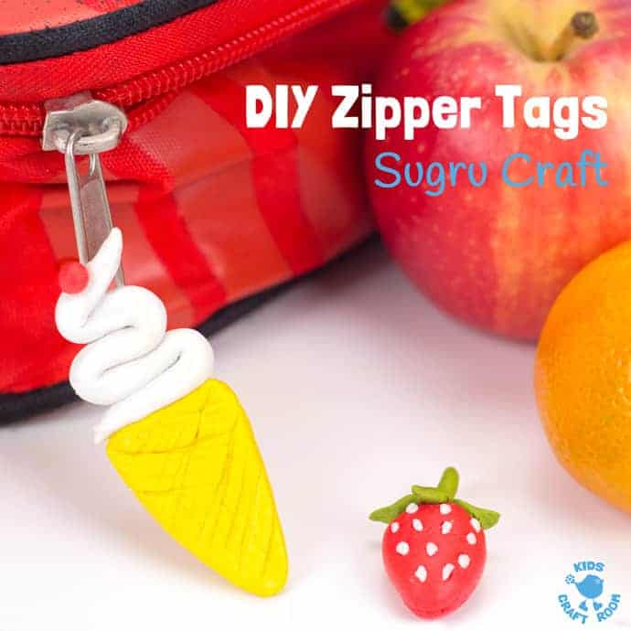 DIY ZIPPER TAG CRAFT - Make cool Zipper Tags for lunch boxes, bags and coats with Sugru, the world's first moldable glue that turns to rubber! If your kids like play dough, they'll love Sugru! The only limit to Sugru crafts is your imagination. Fun glue modelling material for kids to create, improve and mend.