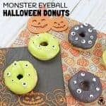 CREEPY MONSTER EYEBALL HALLOWEEN DONUTS - Halloween treats great for cooking with kids. This Halloween recipe is creepy and delicious in one mouthful. Yummy! #HalloweenTreats #HalloweenRecipe