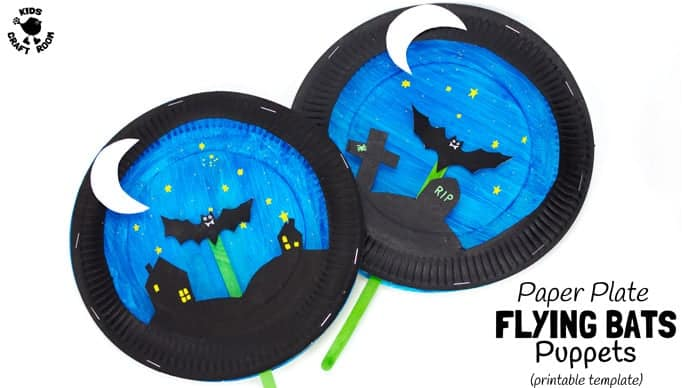 Paper plate bat puppet craft kids craft room for Paper plate puppets templates