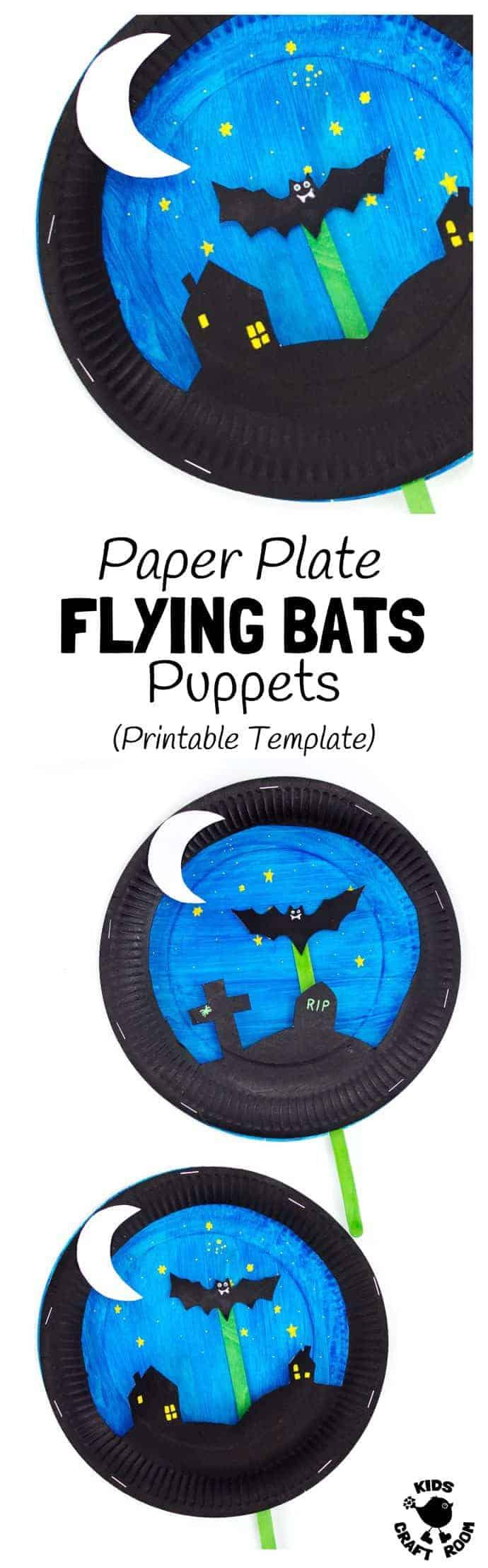 paper plate bat puppet craft kids craft room