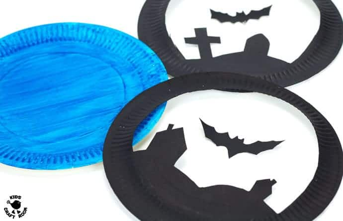 Paper Plate Flying Bat Puppet Craft-step 2
