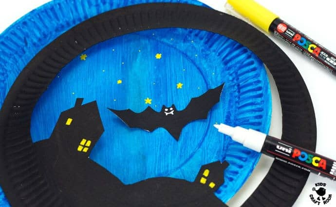 Paper Plate Flying Bat Puppet Craft-step 3