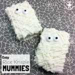 RICE KRISPIE MUMMIES - easy Halloween treats you can make with the kids in minutes! Halloween Mummy Treats are spooky, fun and delicious, such an easy Halloween food idea.